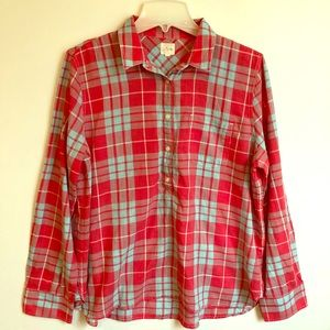 J CREW Red & Turq Plaid 💯 Cotton BLOUSE TOP Large